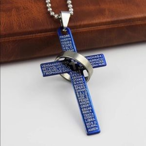 Other - ARRIVED! Blue Lord's Prayer Cross Necklace